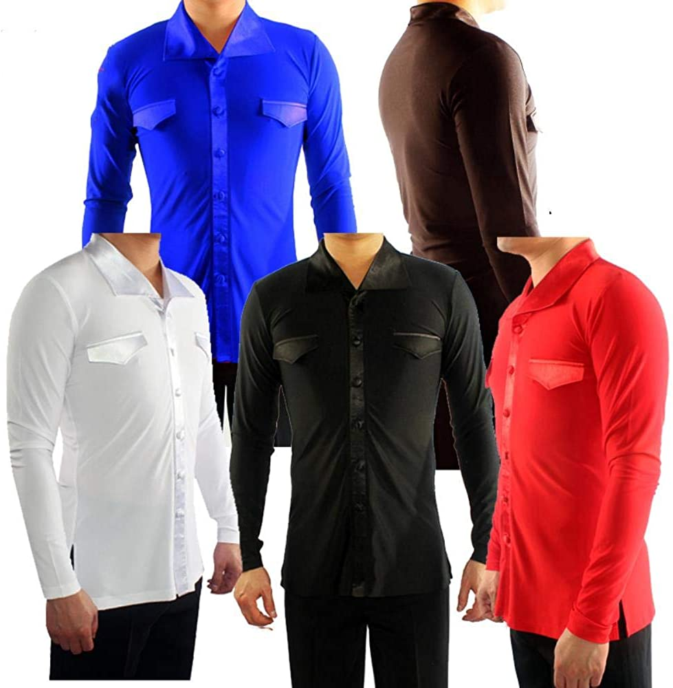 kuoshaoye - Camisa de Baile Latina para Hombre, Manga Larga, de algodón, con Cristales: Amazon.es: Ropa y accesorios