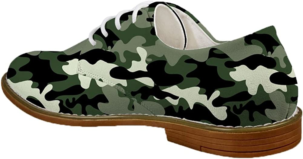 Coloranimal Cool 3D Camouflage Military Pattern Oxford Lace up Flats for Adult