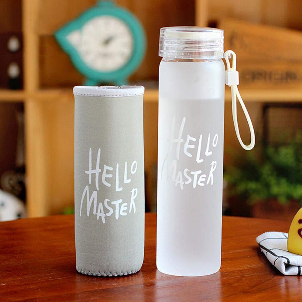 Vidrio Botella con pl/ástico Protectora Botella de Cristal Classic port/átil 300/ML sin BPA ca/ño Seguro Thermos Vidrio borosilicatado Botellas de Cristal Xixik Botella de Vidrio
