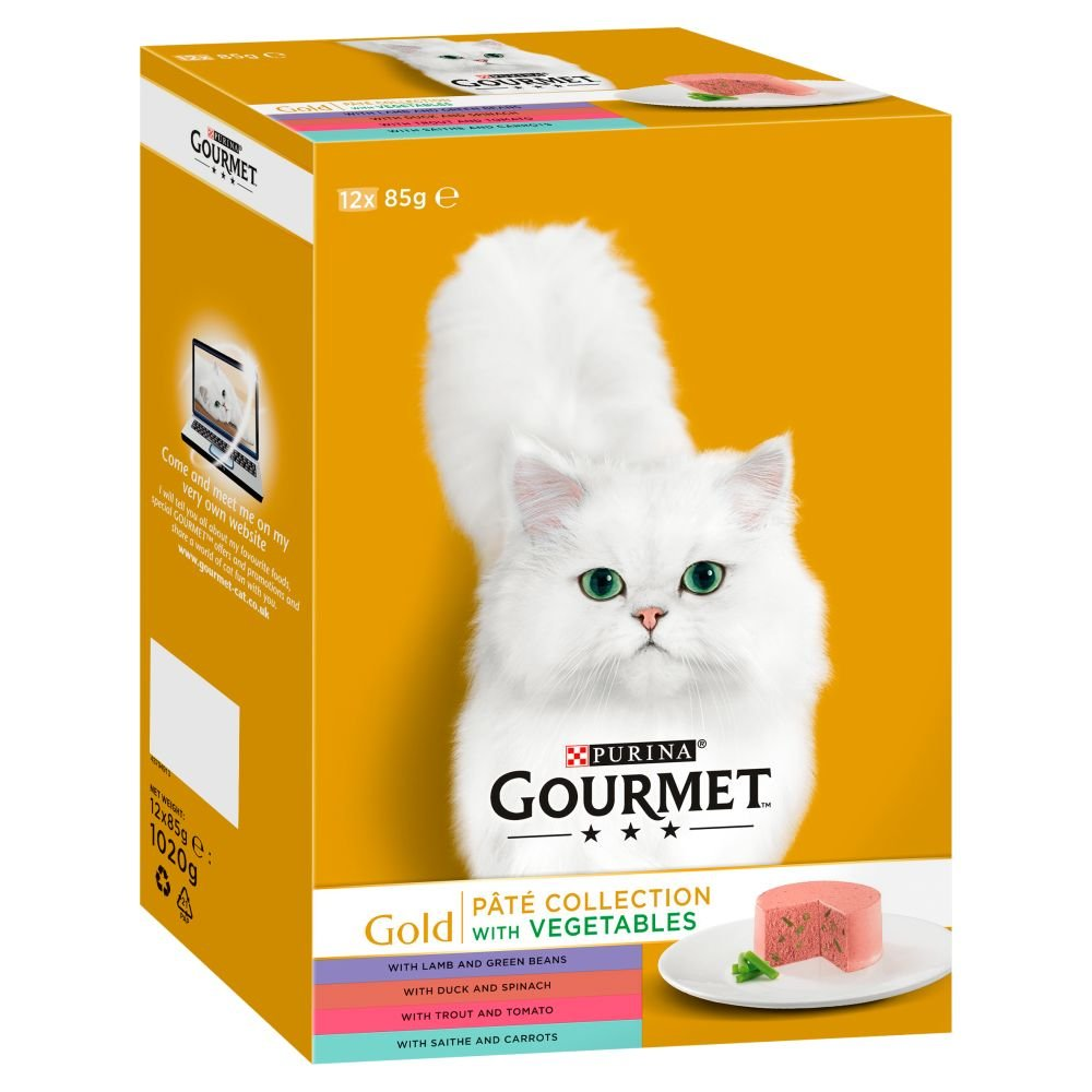 Gourmet gold Adult Cat Pate Collection Wet Food Can 12 x 85 g (Pack of 4)
