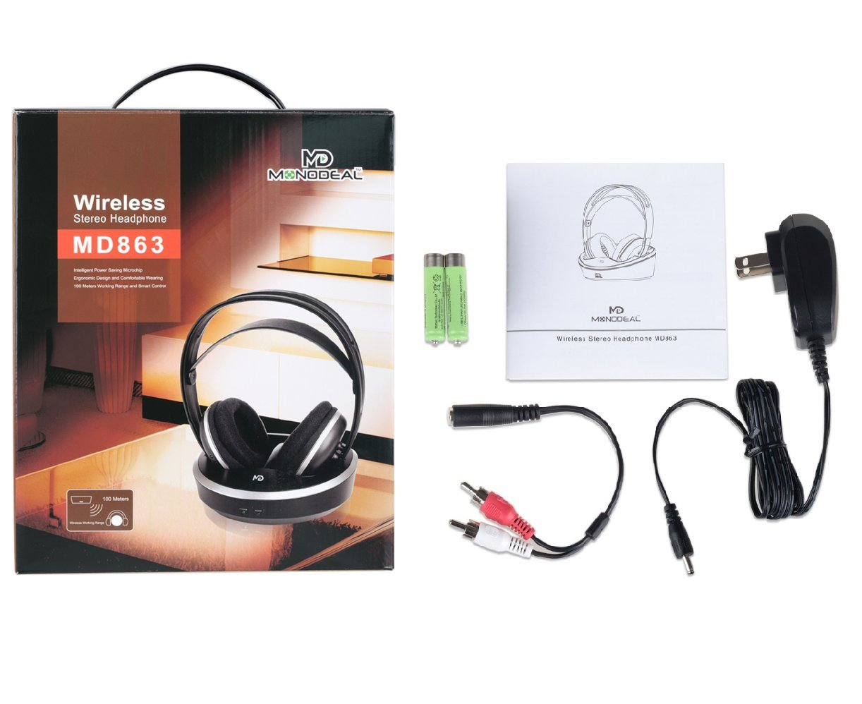 Wireless Universal TV Headphones, Monodeal Over-Ear Stereo RF Headphones with Charging Dock, Low Latency Volume Adjustable for Gaming TV PC Mobile, 25hr Battery Sound -1 Year Warranty by MONODEAL (Image #7)