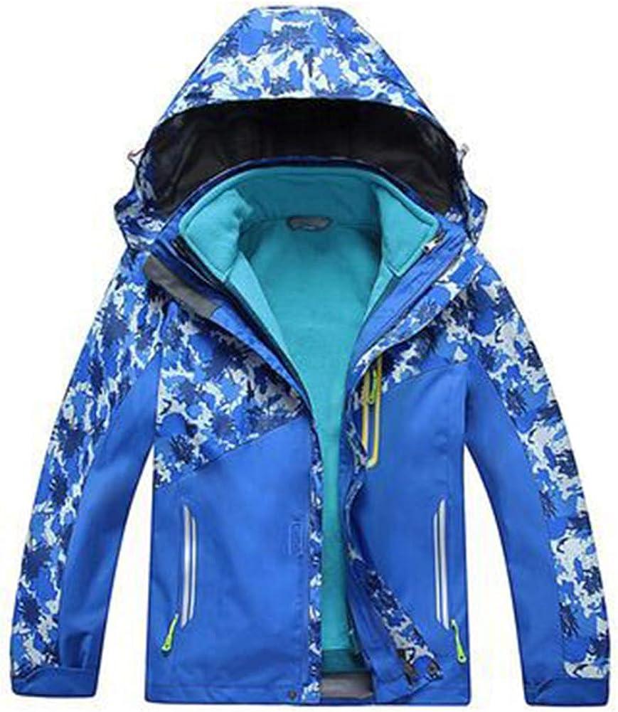 Ommda Kids 3-in-1 Thick Warm Outdoor Waterproof Fleece Hooded Jacket Raincoat