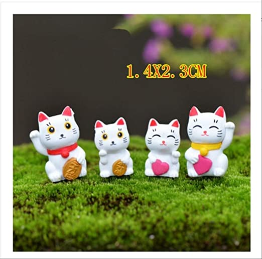 KWOSJYAL 4Pcs / Set Cute Cat Animals Figurine Miniatures Garden Micro Landscape Decoration Adornos De Resina Animal para DIY Key Craft B: Amazon.es: Jardín