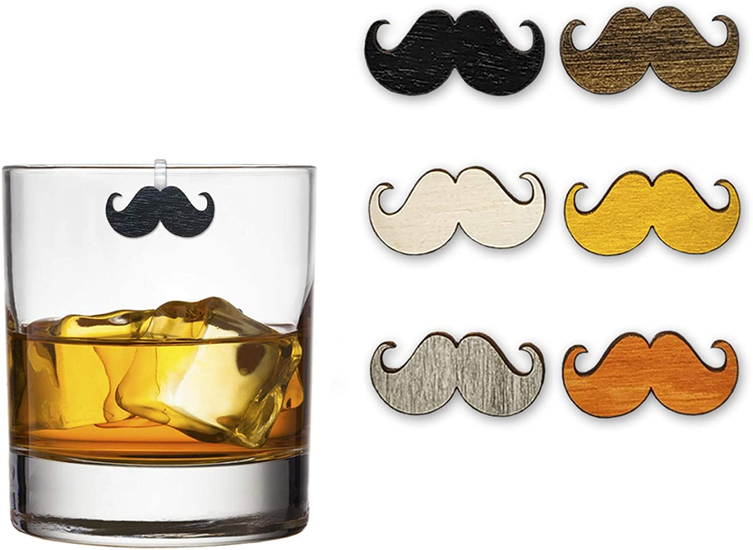 Curly Mustache Wine Charms / Drink Markers - Set of 6 - Wine Glass Clips by Claim Your Glass C.Y.G. - Storage travel pouch Included