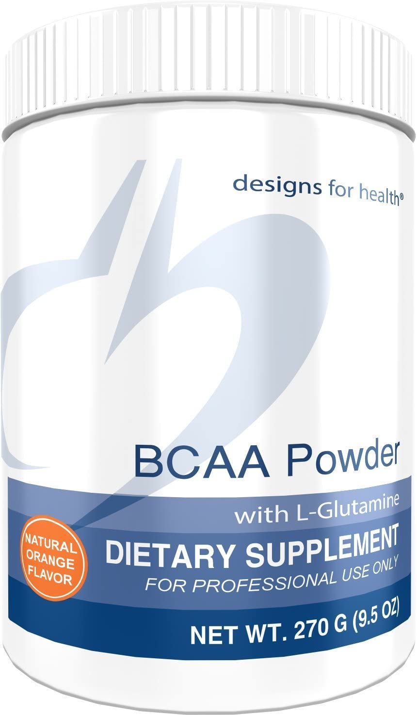 Designs for Health BCAA Powder with L-Glutamine – Branched Chain Amino Acids L-Glutamine for Energy Support 30 Servings 270g