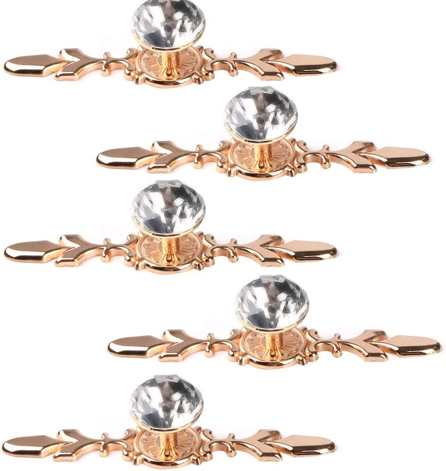 "Fvstar 5pcs 4.7"" Gold Crystal Cabinet Knobs Decorative Diamond Dresser Pulls Clear Glass Drawer Handles Furniture Door Wardrobe Hardware for Kitchen Bedroom Bathroom"