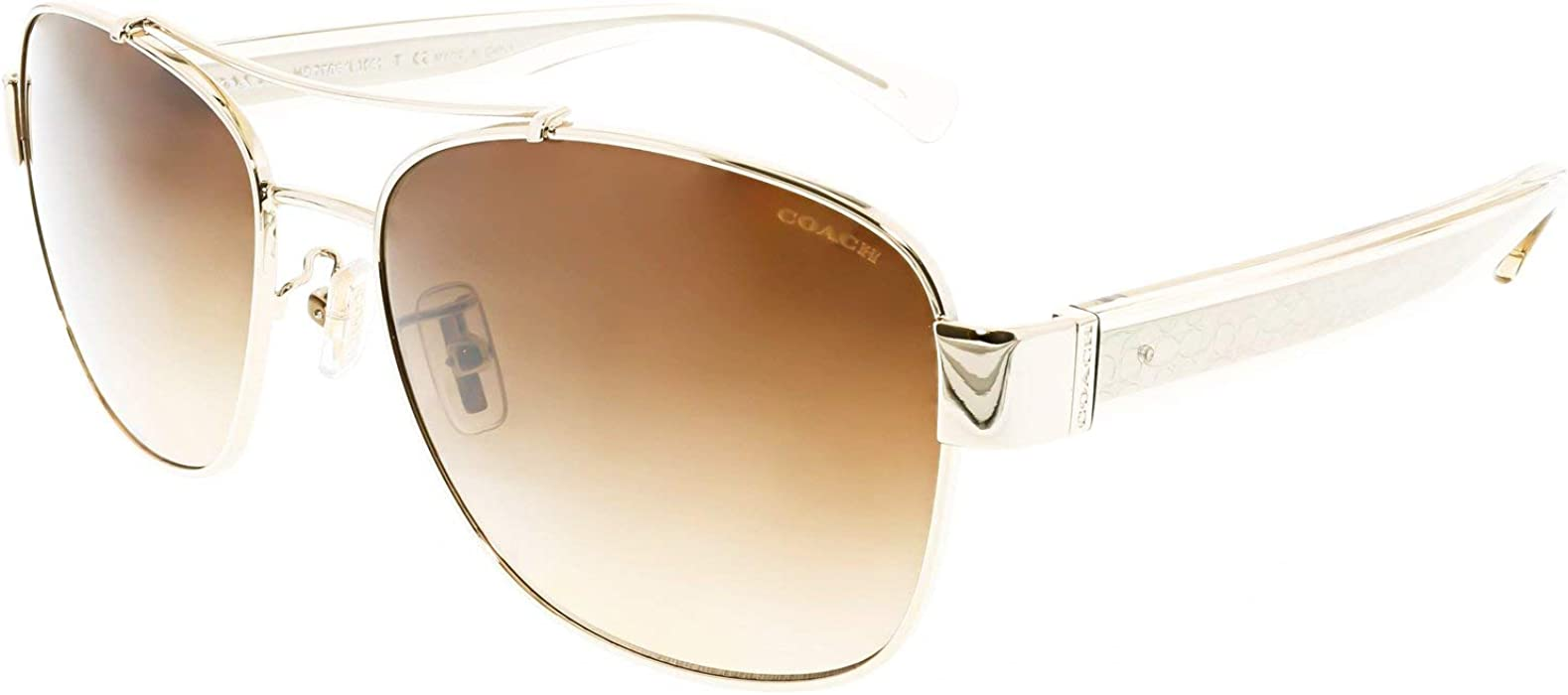 2d099daae2e Coach Womens Sunglasses (HC7064) Gold Brown Metal - Non-Polarized - 56mm