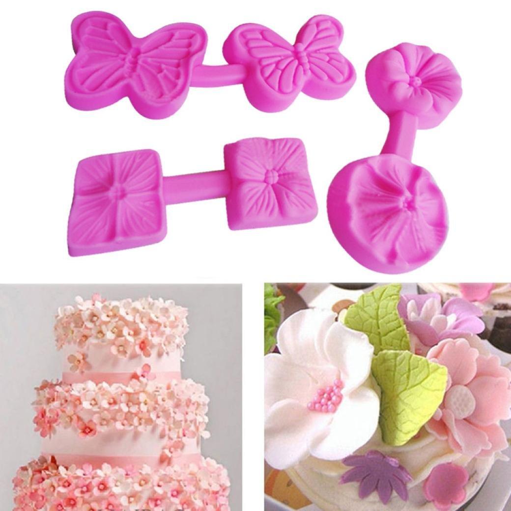 Jamicy - Juego de 3 moldes de silicona para fondant y repostería, diseño de flores en 3D: Amazon.es: Hogar