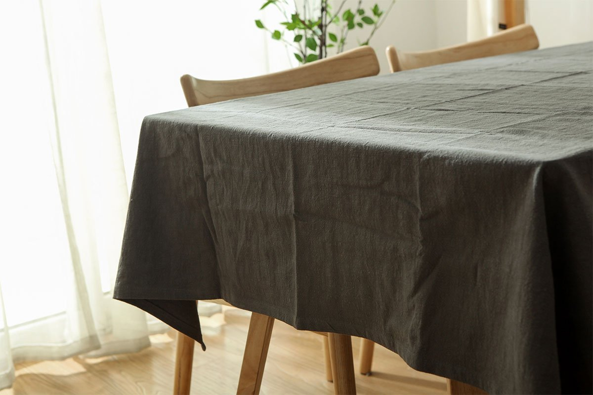 SUFCOMOU Stonewashed Linen tablecloth light grey table cover for ruond table-Everyday indoor and outdoor use-52''x52''