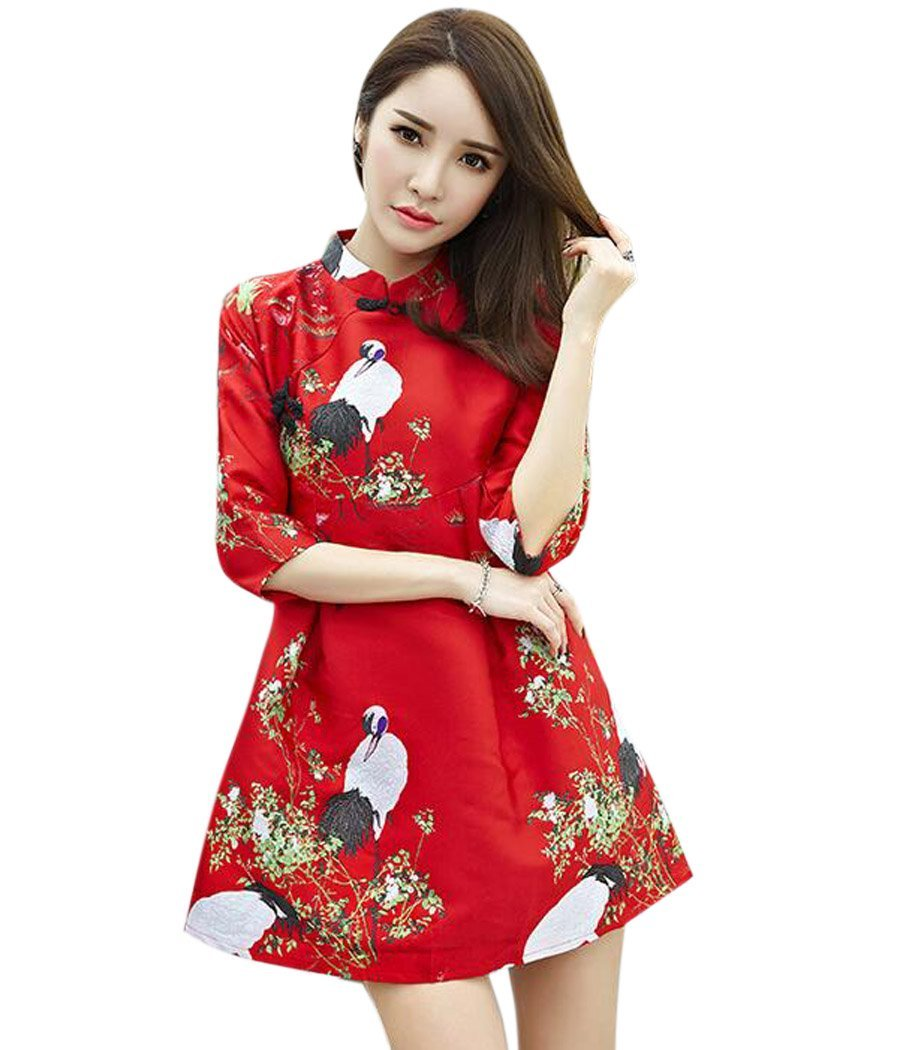 Aro Lora Women's Crane Embroidery A-line Tunic Cocktail Party Prom Short Dress US 8-10 Red