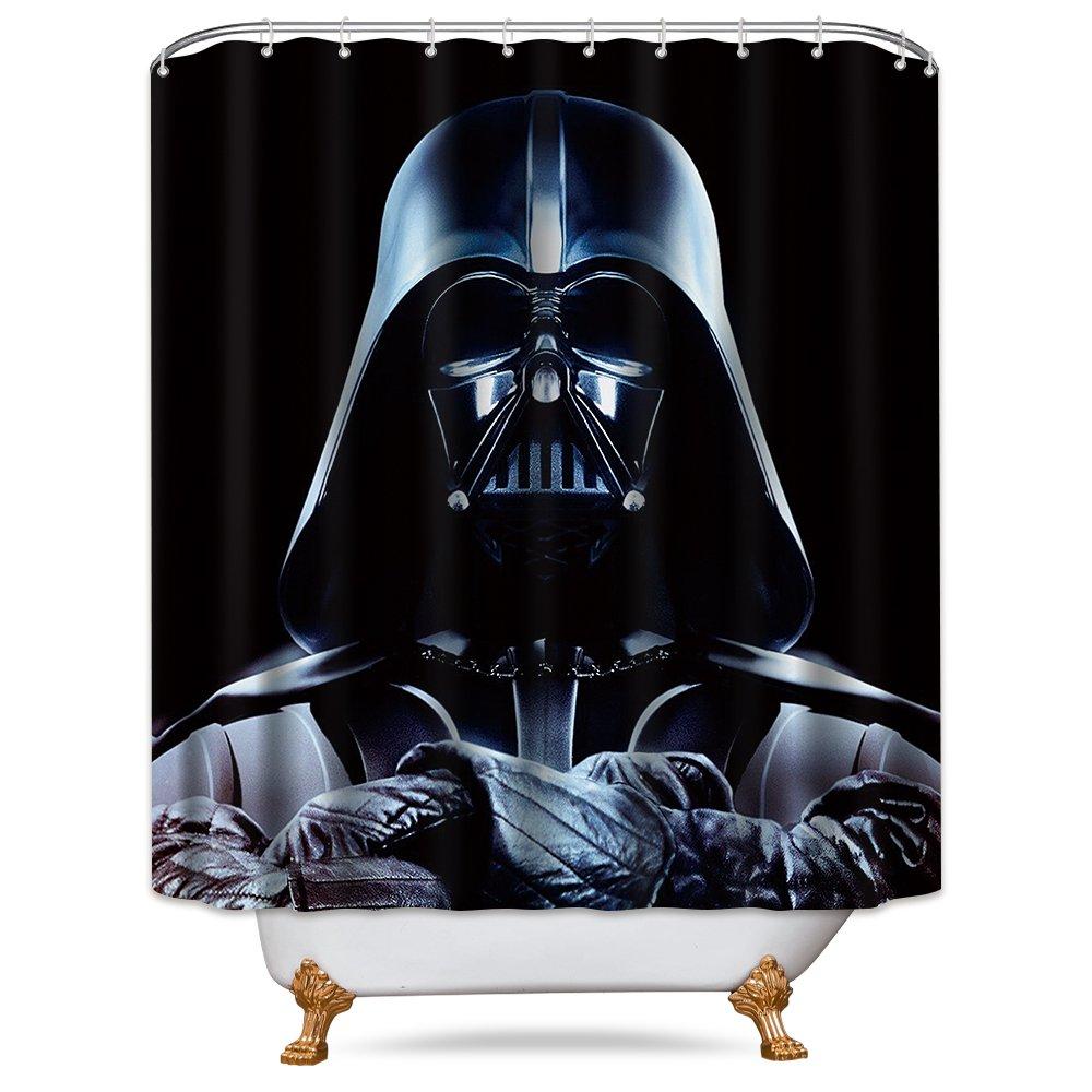 LIGHTINHOME Superhero In Star Wars Movie Shower Curtain Set Black Darth Vader Shower Curtain Panel Polyester Waterproof Fabric 72x72 Inch With 12-Pack Plastic Shower Hooks anti mildew