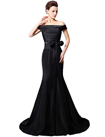 Amazon.com: Sarahbridal Women\'s Black Taffeta Formal Long Prom Dress ...