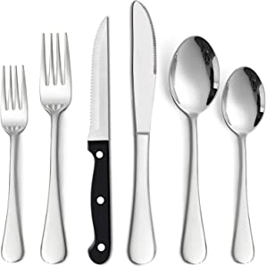 72 Pieces Silverware Set with Steak Knives, HaWare Stainless Steel Classic Flatware Eating Utensils Set, Includes Forks/Spoons/Dinner Knives, Service for 12, Mirror Polished, Dishwasher Safe