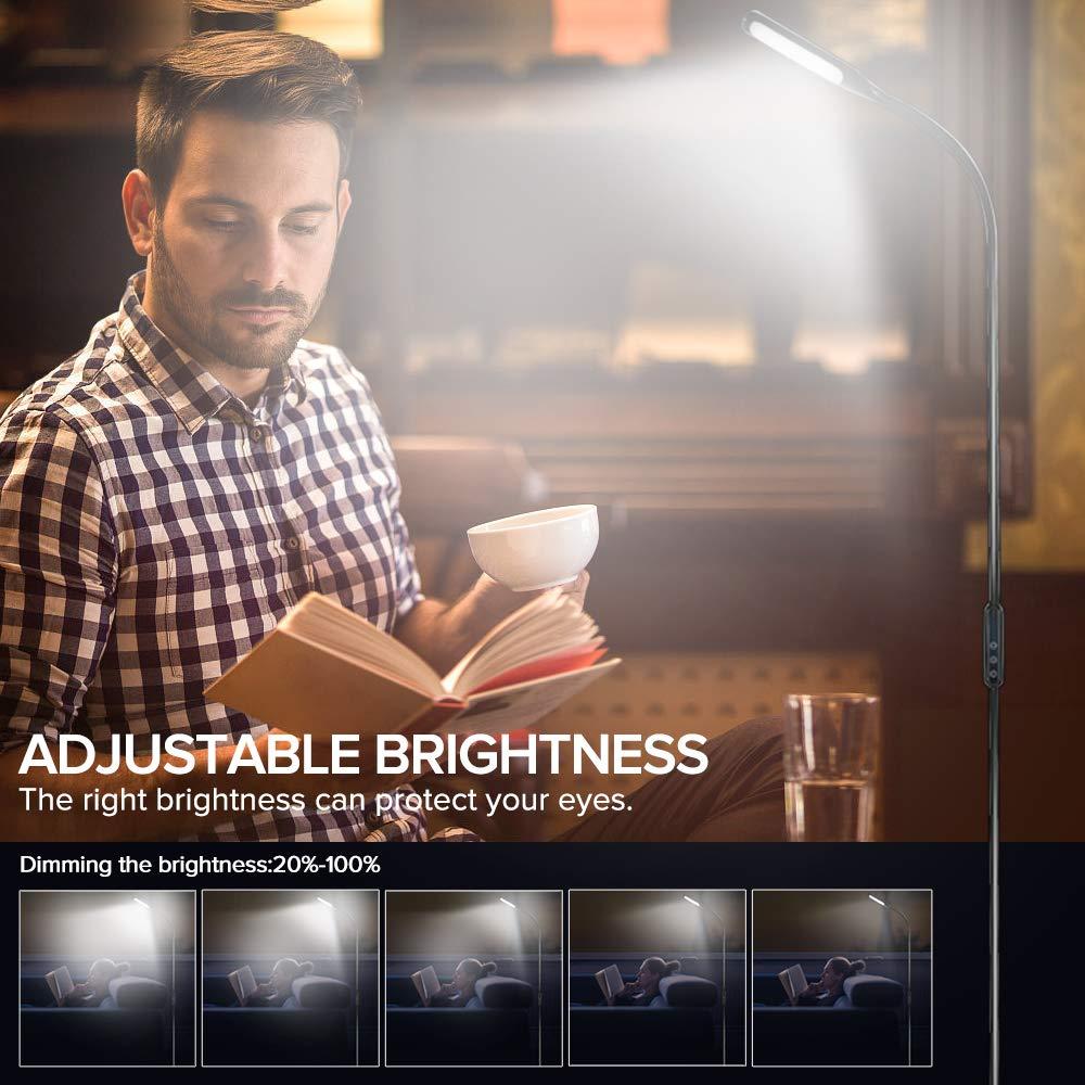 LED Stehlampe dimmbar mit Ferbedienung und Touchschalter NACATIN 9W Leselampe mit 5 Farbtemperaturen 5 Helligkeitsstufen 360/° Drehfunktion Moderne Standleuchte f/ür Wohnzimmer und B/üro Wei/ß