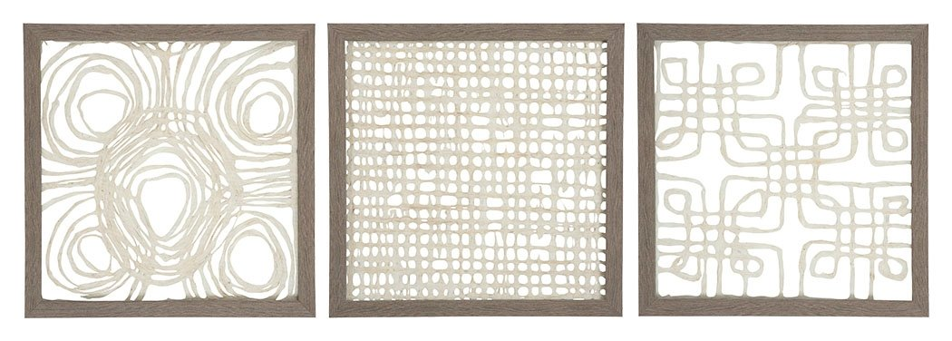 Ashley Furniture Signature Design - Odella Abstract Framed Sculpture Wall Art - Contemporary - Cream/Taupe