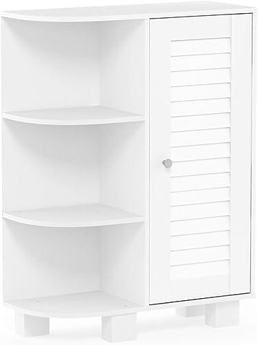 Furinno Indo Storage Shelf Louver Door Cabinet, White