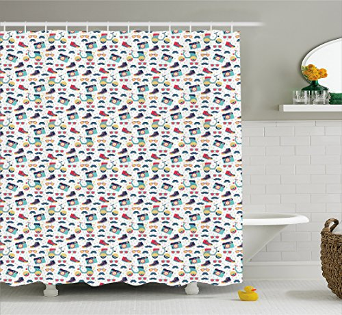 Hipster Shower Curtain By Ambesonne Teenager Fun Pattern With Mustache Photo Camera Scooter Sneakers And Sunglasses Cloth Fabric Bathroom Decor Set
