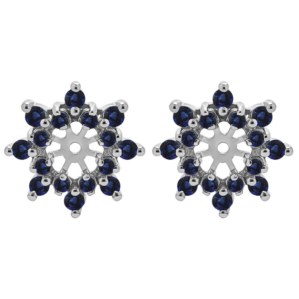 1/2 ct. Sapphire Genuine Sapphire Cluster Style Earring Jacket in Sterling Silver (0.48 ct. twt.)