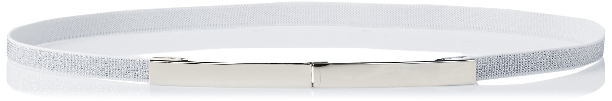 elise m. Women's Lohan- Fabric Stretch Belt with Gold Plaque Closure, Silver, One Size