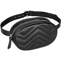 Geestock Women Waist Bags Waterproof PU Leather Belt Bag Fanny Pack Crossbody Bumbag for Party, Travel, Hiking, Black…