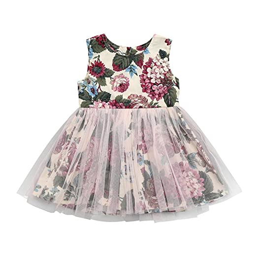 6e7ef7ff5 Amazon.com: Lavany Little Girls Dresses Cute Tulle Floral Print Tutu Dress  Baby Girl Clothes: Clothing