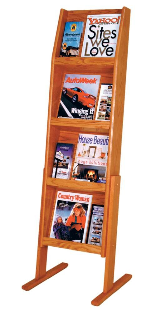 Wooden Mallet Slope 12 Pocket Standing Literature Display 4Hx3W, Medium Oak
