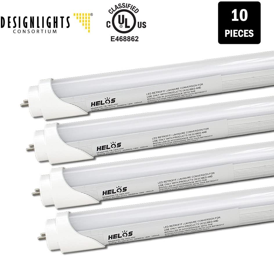 Neutral White UL-Listed /& DLC-Qualified 10-Pack Helos T8 Tube Light 18W Frosted 4100K