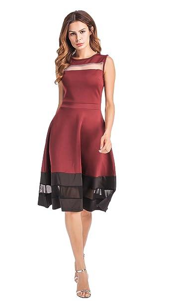 Clasichic Damen Sommerkleid Partykleid Ärmellos Rockabilly Swing Kleider  Midi Cocktailkleid Elegant A-Linie: Amazon.de: Bekleidung