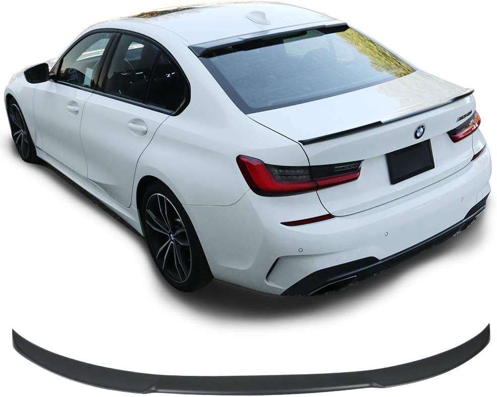 Ikon V Style Matte Black ABS Rear Deck Lip Wing Bodykits by IKON MOTORSPORTS Trunk Spoiler Compatible With 2019-2020 BMW G20 Sedan 4-Door