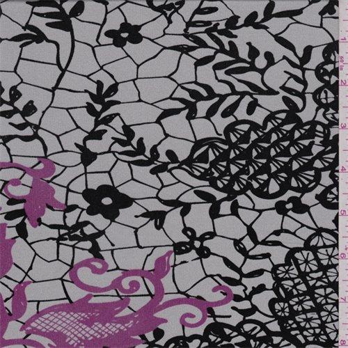 Silver/Black Lace Print Silk Jersey Knit, Fabric By the Yard - Fabric Knit Jersey Silk