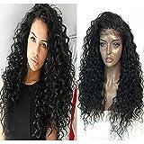 "Fureya Hair 8A Brazilian Glueless Full Lace Wigs Deep curly Wave Virgin Human Hair Wigs With Baby Hair For Black Women 150% Density ( 22"")"