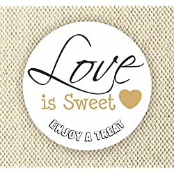 Set of 60 stickers - Love is Sweet Enjoy a Treat - Wedding Favor Stickers - Anniversary Stickers - Favor Stickers - Love is Sweet Labels