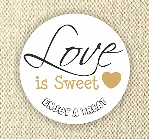 Love is Sweet Enjoy a Treat - Wedding Favor Stickers - Anniversary Stickers - Favor Stickers - Love is Sweet -