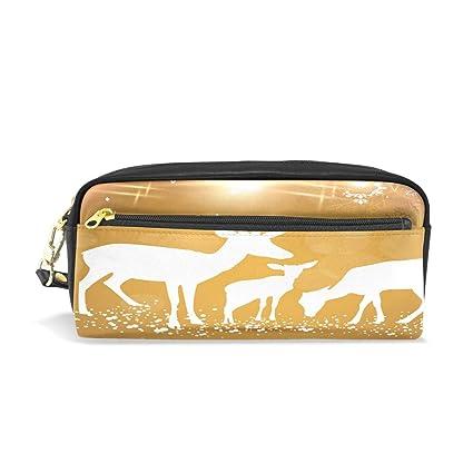 0b47a8e4de2 Amazon.com   Leather Zipper Pencil Pen Cases Holder Snow Elks ...