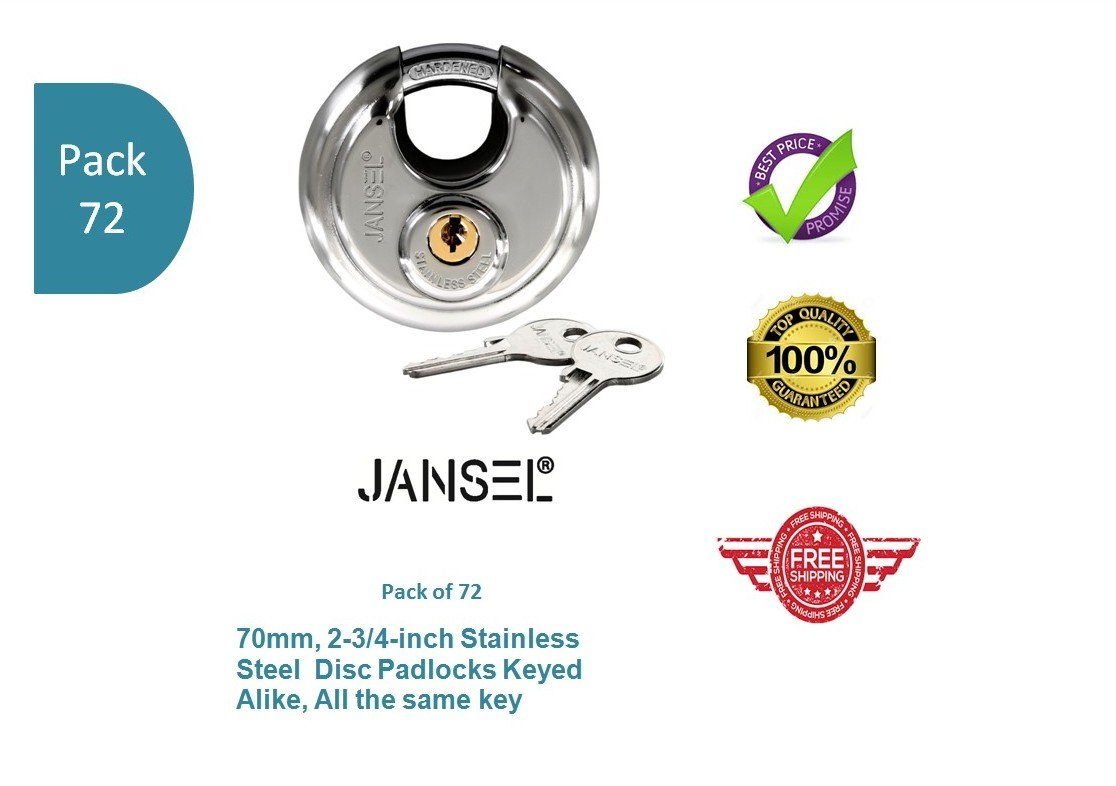 JANSEL – 70mm Disc Padlock Keyed Alike, Discus Padlocks Keyed Alike 70mm Round Disc Padlock with Shielded Shackle, 2-3/4-inch, Stainless Steel Round Disc Storage Pad Locks All the same key (72)