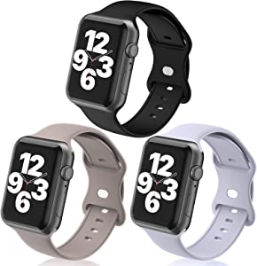 N-Hocezyg Wristbands Compatible with Apple Watch Band 40mm 38mm for Women Men Girls,3 Pack Soft Silicone Sport Replacement Strap for iWatch Series 6 5 4 3 2 1 SE Smartwatch Bands
