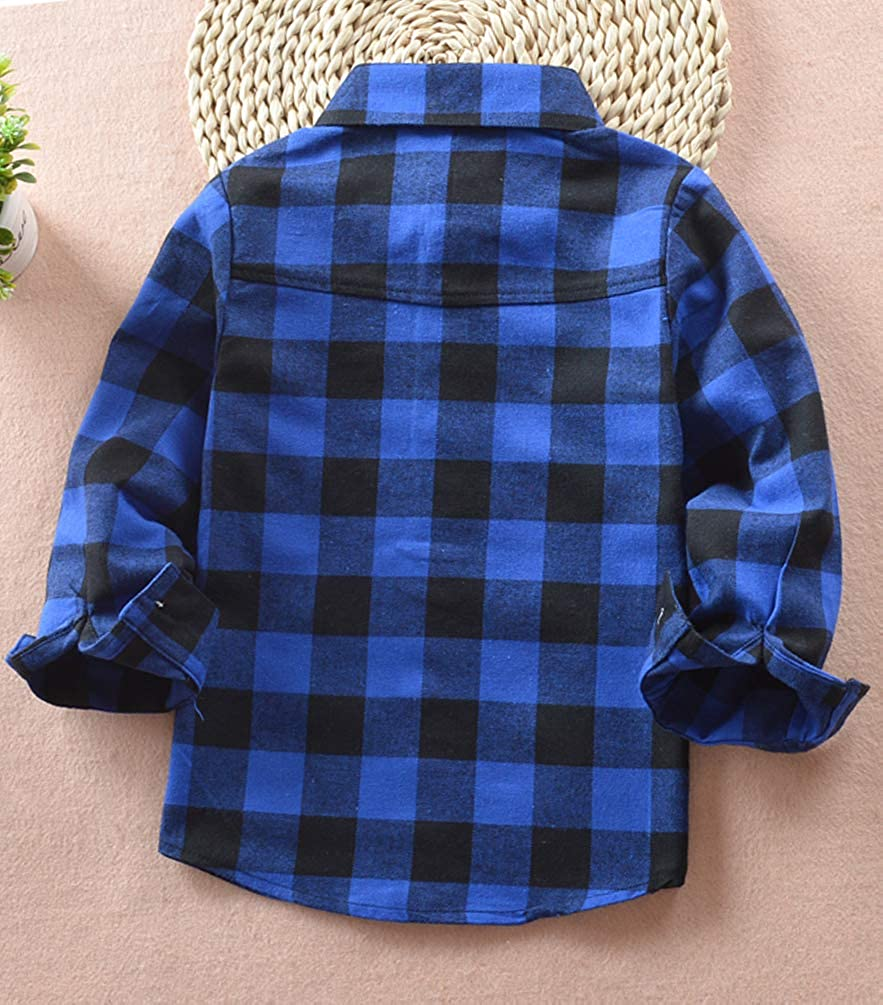 EachWell Kids Girls Boys Long Sleeve Button Down Plaid Flannel Shirt
