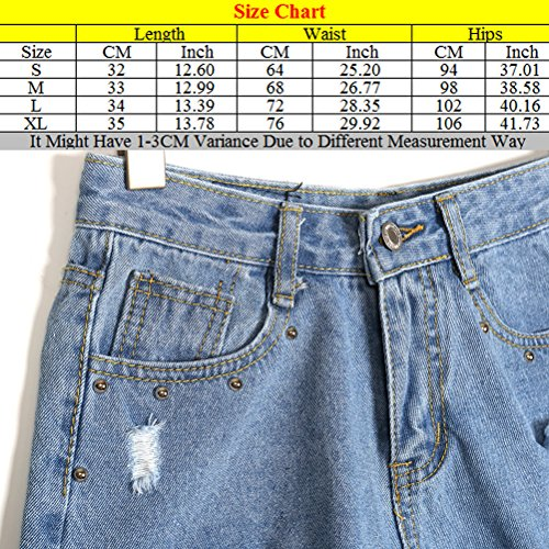 Zhhlaixing Pantalones de moda Loose Hand Worn Holes Rivets Shorts Denim Short Pants Slim Bottom para mujeres Blue