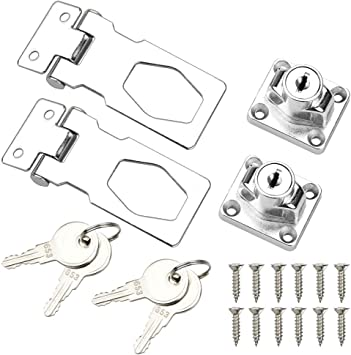 SPTwj 【2 Pack】Lock Hasp Chrome Plated with Padlock and Key 65.5mm Door Bolt Latch Buckle Hardware for Locking Shed Doors Garage Door Cabinets Boxes Furniture etc