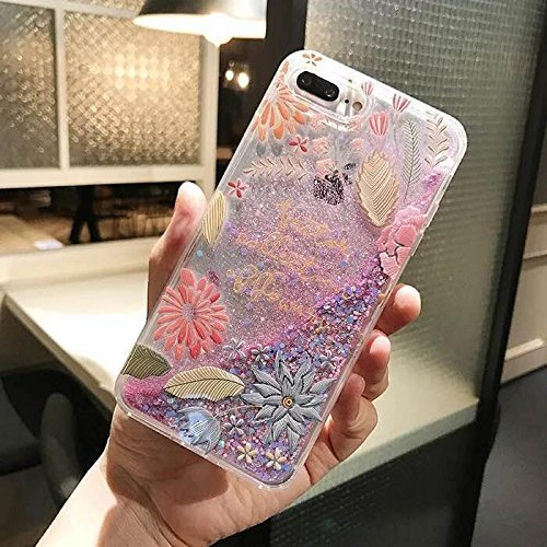 Liquid case for iPhone 6/6 plus / iPhone 7/7 plus Print Flowing Liquid Floating Luxury Bling Glitter Sparkle Stars Transparent Plastic Case (Summer vacation flowers, iPhone 6/6s (4.7 inch))