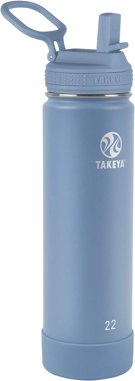 Takeya Actives Insulated Water Bottle w/Straw Lid, Bluestone, 22 Ounces