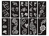 Tattoo Stencil / Template 10 Sheet Set Flower Pretty New Henna Designs