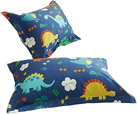 CLOTHKNOW Kids Pillowcases Cotton Dinosaur Pillowcases Standrad Size Twin Queen Boys Men Bed Pillowshams Set of 2 Cartoon Standrad Pillow Covers