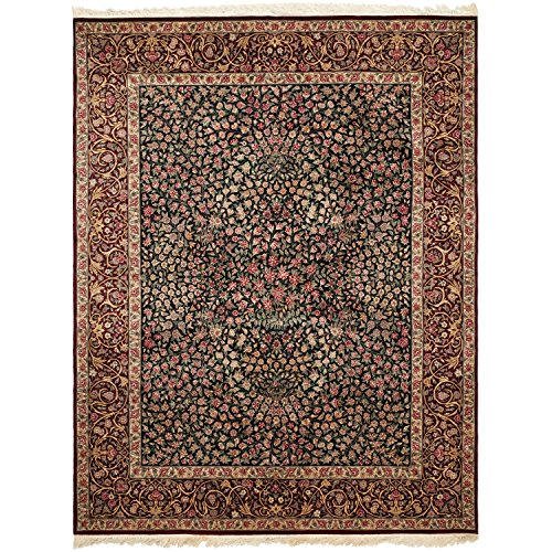 (Safavieh Royal Kerman Collection RK4A Hand-Knotted Black and Red Wool Area Rug (10' x 14'))