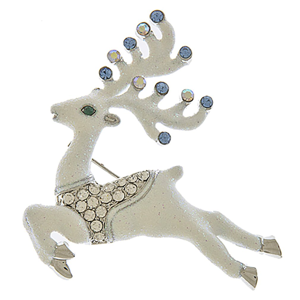 ACCESSORIESFOREVER Christmas Jewelry Holiday Gorgeous Crystal Prancing Reindeer Brooch BH219 White