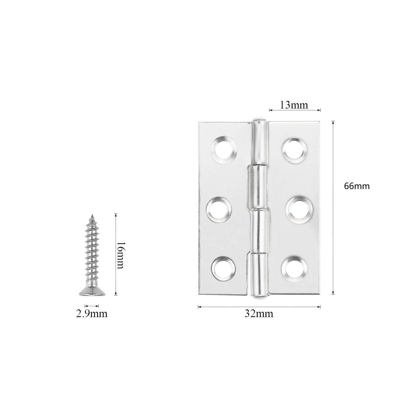 LATERN 10 piezas de bisagras de acero inoxidable Conectores de bisagras de tope plegables 3 pulgadas para el mueble de para el hogar Gabinete la puerta del armario con tornillos de 60Pcs M4 * 16mm