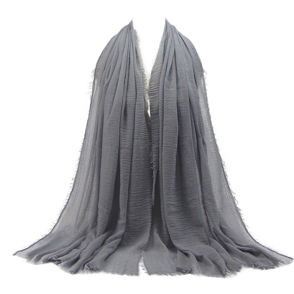 Womens Shawl,KIKOY Premium Viscose Maxi Crinkle Cloud Hijab Scarf Soft Islam Muslim