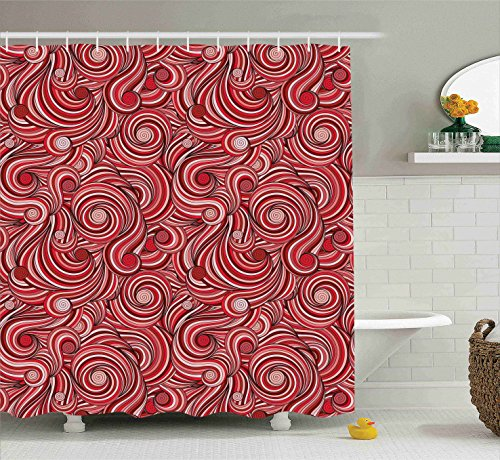Asian Decor Shower Curtain Set By Ambesonne, Modern Classics Autumn Wavy Holiday Festival Celebration Oriental Artwork, Bathroom Accessories, 69W X 70L Inches (Oriental Asian Fabric)