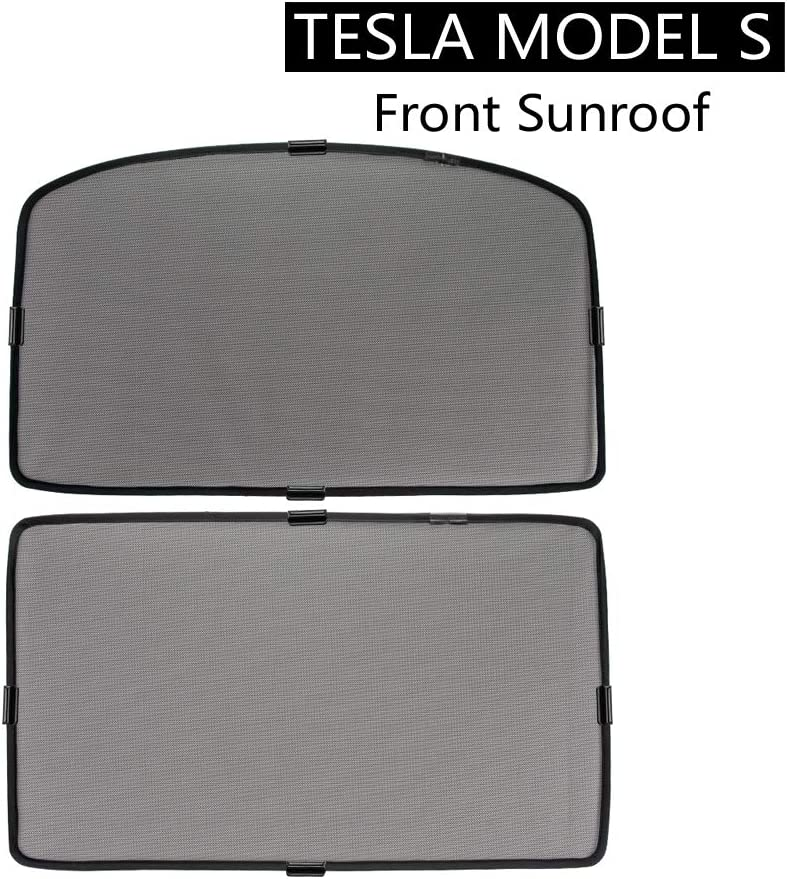 2PCS Tesla Model S Front Sunroof Sunshade ROCCS Windshield Glass Roof Car Skylight Blind Shading Net for model s 2012 2013 2014 2015