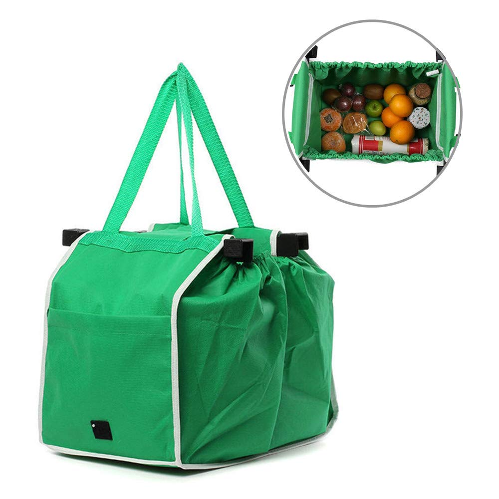 5fb6030384d5 Reusable Grocery Tote Bags Collapsible Green Shopping Bags Non Woven Grab  and Go Bag With Handles (Green)